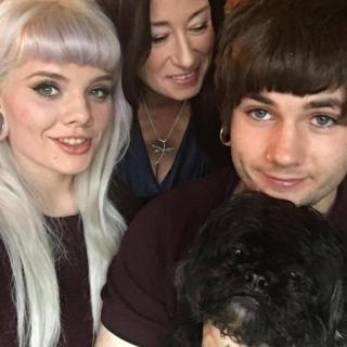 Tom Webb with his girlfriend and mother