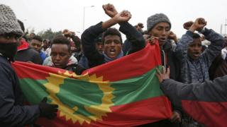 """Ethiopians protests in Calais' """"Jungle"""" camp in France - Monday 24 October 2016"""