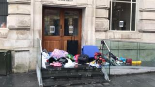 Rubbish left outside Newport Central Hotel which managers say was closed in last week