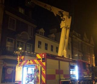 Fire engine in Market Square, Cambridge