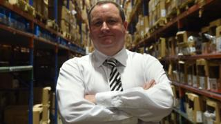 Mike Ashley at the Sports Direct headquarters in Shirebrook, Derbyshire
