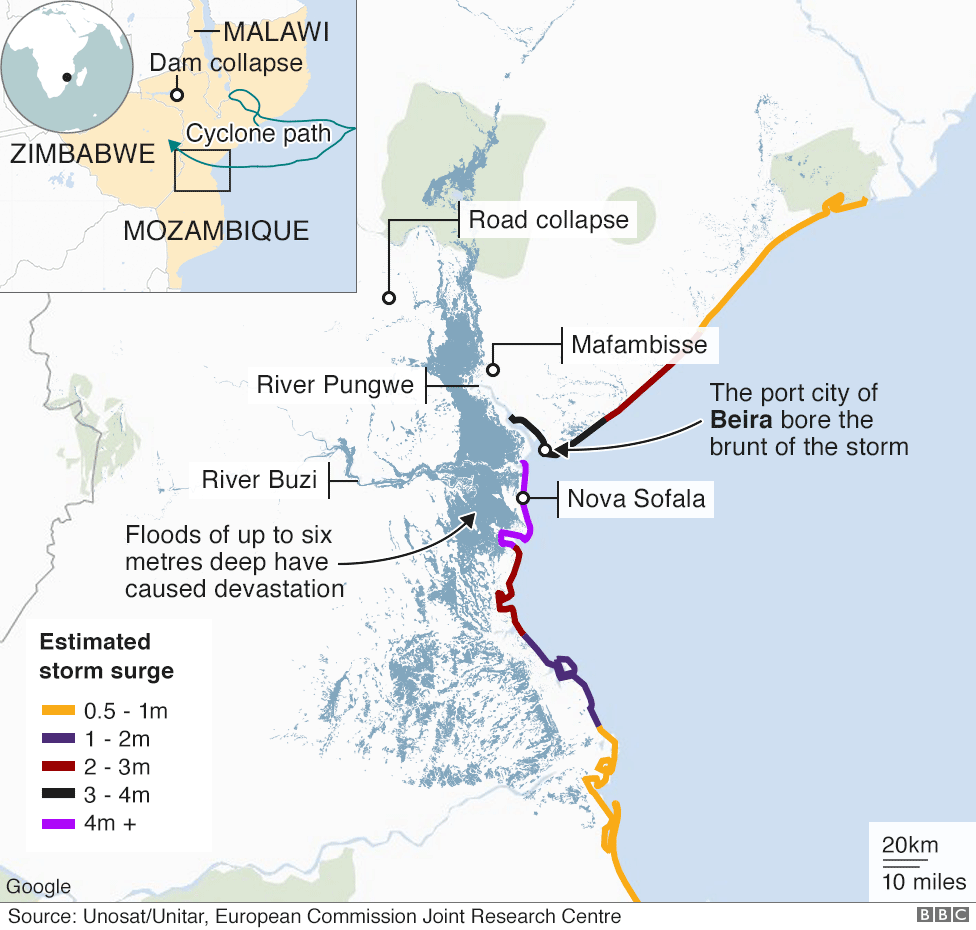 Map showing areas affected by flooding caused by Cyclone Idai