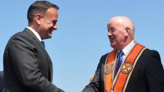 Grand Master of the Grand Orange Lodge of Ireland Edward Stevenson welcomed Mr Varadkar to Orange Order HQ