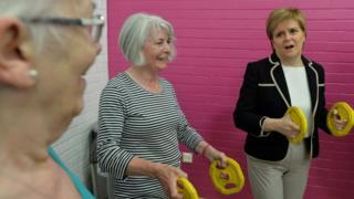 Nicola Sturgeon exercises with seniors