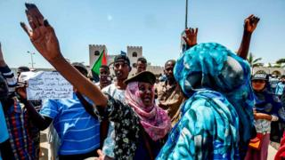 Protesters in Khartoum, 13 April