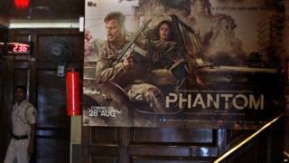 Promotional poster in Delhi for Bollywood film, Phantom
