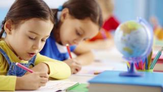 Children sitting tests