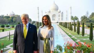 Melania Trump US President Donald Trump and First Lady Melania Trump pose as they visit the Taj Mahal in Agra on February 24, 2020