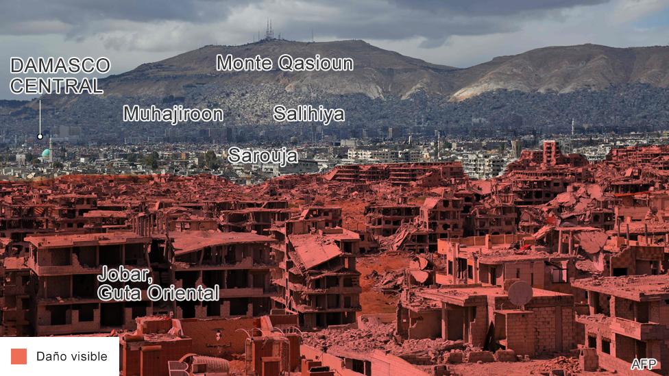 Imagen de los daños en Guta Oriental, Damasco