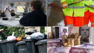 school, gritting, bins and money