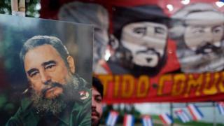 Cartaz com o rosto de Fidel Castro