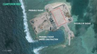 Satellite image from Asian Maritime Transparency Initiative showing possible Chinese construction work in the disputed Spratly Islands
