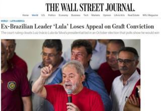 Site do Wall Street Journal destaca derrota de Lula em tribunal