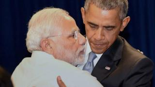 India PM Modi and US President Obama embrace after their meeting in New York