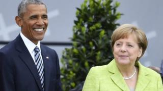 Barack Obama, Angela Merkel, Jerman