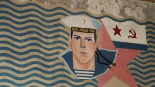 Restored Soviet naval mural, Naissaar, Estonia, September 2017