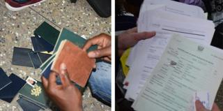 پاسپورت و مدارک کشف شده در سفارتخانه تقلبی آمریکا