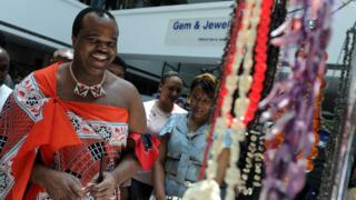 King Mswati III dey dance in front of young virgins for Royal Palace on August 30, 2009.