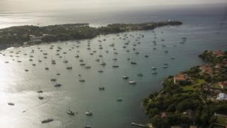A boat-filled harbour photographed from the air, west of St George's, Grenada, in February 2018