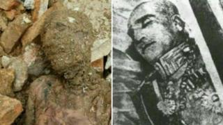Mummy believed to be of Reza Shah (left) and Reza Shah's body (right)