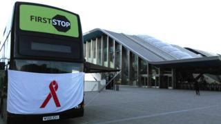 The HIV testing bus outside Reading station