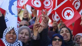 Protesters turned out again in Tunis on Sunday following calls from opposition parties