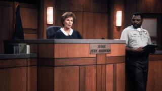 Judge Judy on set in 1997