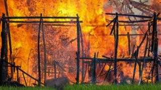 Fire engulfs a village in Rakhine on 7 September 2017