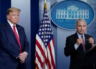 Dr Fauci and President Trump speak to the media
