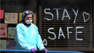 A hospital worker in New York