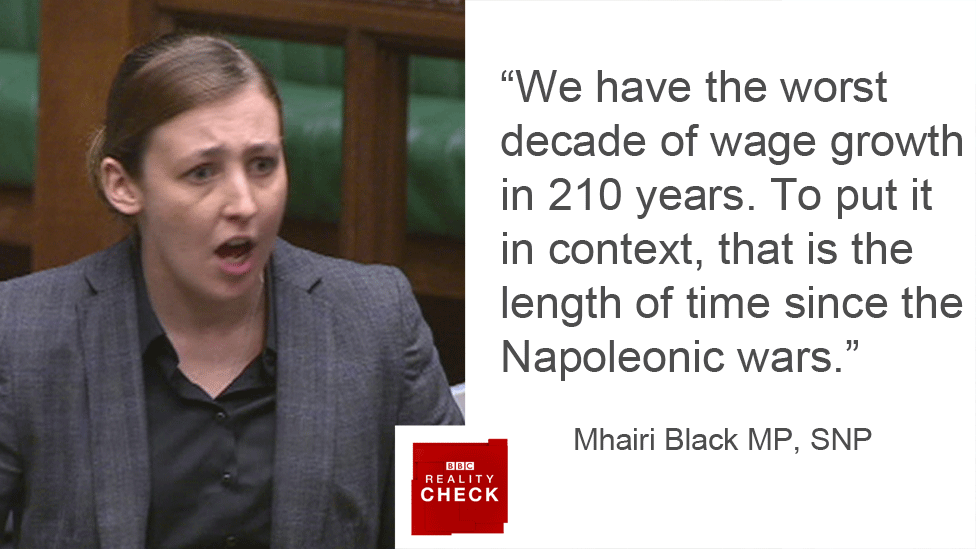Mhairi Black saying: We have the worst decade of wage growth in 210 years. To put it in context, that is the length of time since the Napoleonic wars.