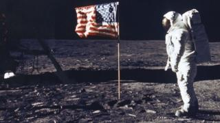 Buzz Aldrin on the moon after successful Apollo 11 mission