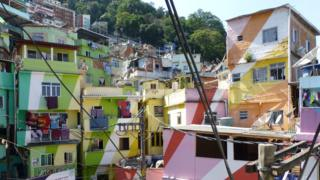 Painted buildings in Rio de Janeiro's southern favelas - part of research by Richard Smith in the Department of Geography