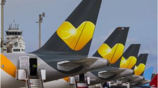 Tail fins of Thomas Cook planes