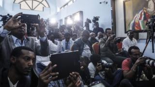 Des journalistes lors d'une conférence de presse à Addis Abeba en Ethiopie