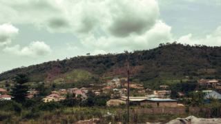 A view of a hillside town in Kumasi, Ghana