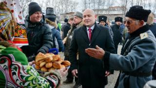 ABAKAN, RUSSIA - NOVEMBER 4, 2018: The acting Governor of Russia's Republic of Khakassia, Mikhail Razvozhayev (C), during a celebration marking National Unity Day. Alexander Kolbasov/TASS