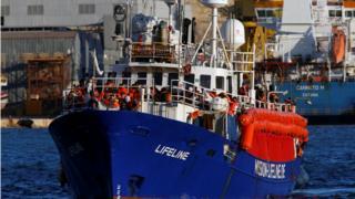 The charity ship Lifeline is seen at Boiler Wharf in Senglea, in Valletta's Marsamxett Harbour, Malta