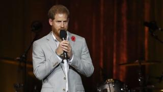 Prince Harry at the closing ceremony of the Invictus Games 2018