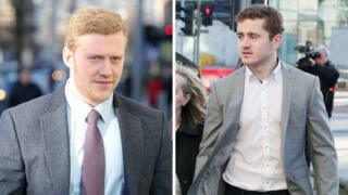 Stuart Olding (left) and Paddy Jackson (right) arriving at court on Thursday