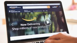 A computer shows the website for Amazon's new Australian service