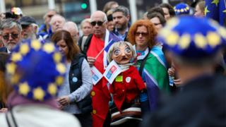 File image showing demonstrators representing EU citizens living in the UK marching through London on 5 November 2018