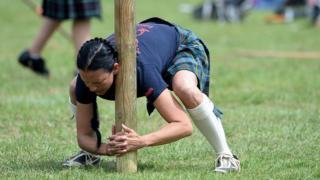 Female Highland Games athlete