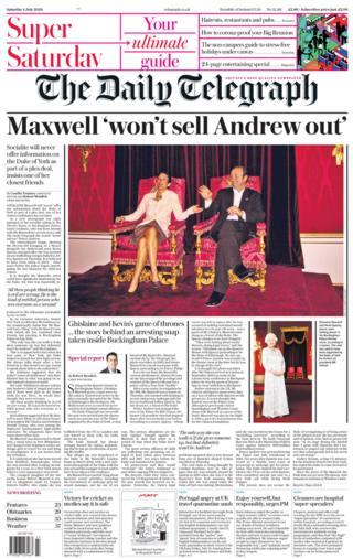 The Daily Telegraph front page 04.07.20