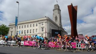 Cyclists raced past Barnsley Town Hall for the second stage of the 2018 Tour de Yorkshire in May