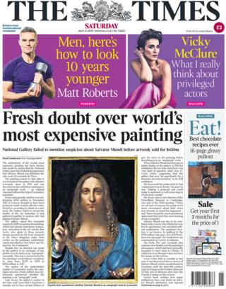The Times front page, 13/4/19