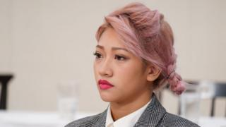 Hana Kimura looks on during the press conference Bushiroad and Stardom on October 17, 2019