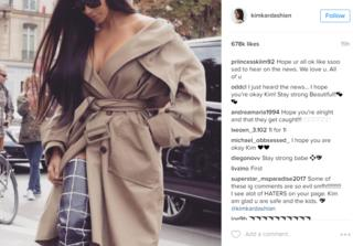 Several of her follower on Instragram wish Kardashian West well following her ordeal