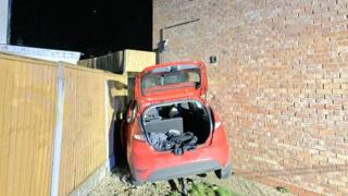 The car crashed into the Northfield house