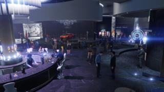 A render of the casino floor from in-game is seen in this computer-generated image - with a supercar, big wheel, and bar
